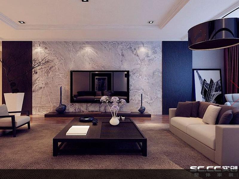 崂山区金地悦峰147平三居室现代装修实创装饰